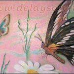 Пенопласт декор, цветок бабочка, на стене.
